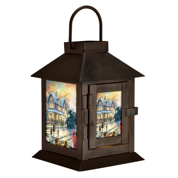 """6"""" Brown Christmas Village Design Battery Operated LED Lantern - N/A"""