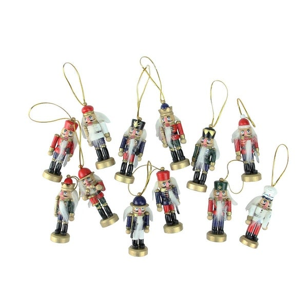 12-Piece Set of Red and Blue Mini Decorative Christmas Nutcracker Ornaments 3.25""