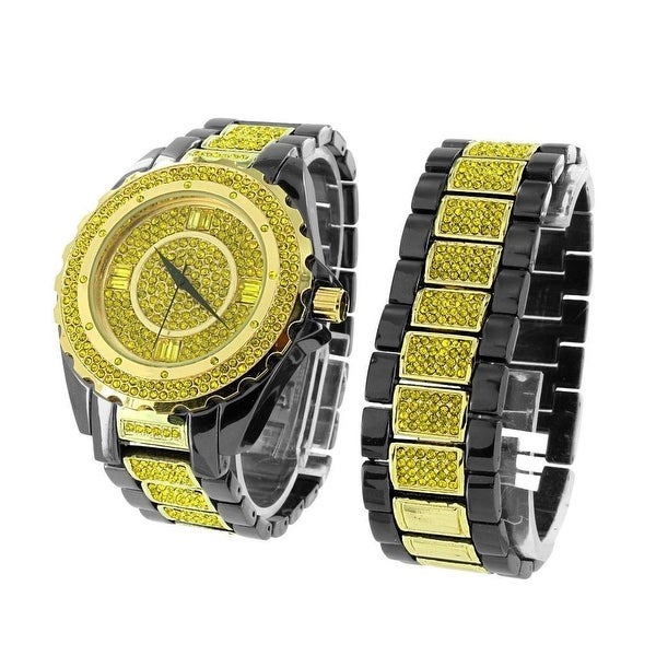 Mens Black & Yellow 2 Tone Watch & Bracelet Set Iced Out Lab Diamonds Stainless Steel Back