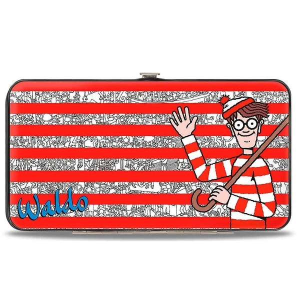 Where's Waldo? Land Of Woofs + Waldo Pose Stripes Hinged Wallet - One Size Fits most