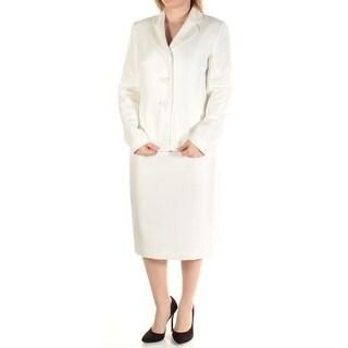 LE SUIT Womens New 1364 White Knee Length Button Down Sheath Skirt Suit 6 B+B