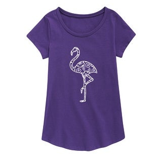 Patterned Flamingo - Youth Girl Short Sleeve Curved Hem Tee