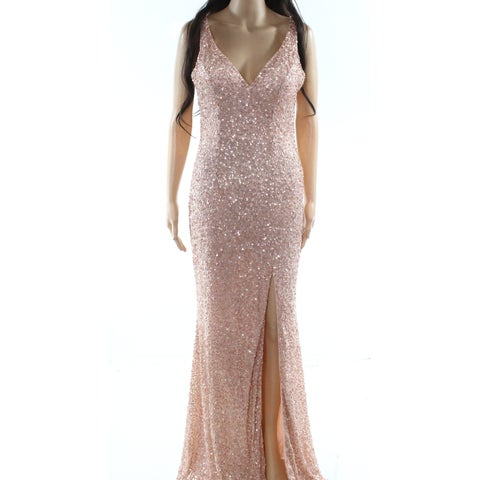 Mac Duggal Pink Womens Size 8 Sequined V-Neck Gown Prom Dress