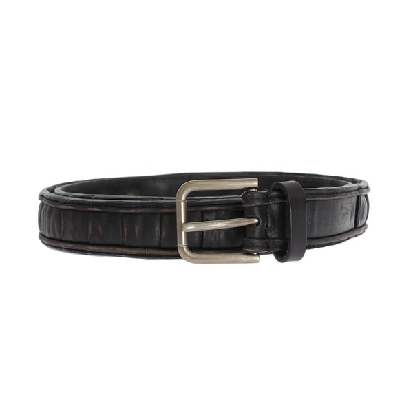 Dolce & Gabbana Black Brown Leather Silver Buckle Belt - 95-cm-38-inches