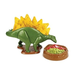 Urban Trend Nachosaurus Chip and Dip Serving Set - Dinosaur Nacho Holder and 2-Compartment Bowl