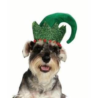 "7.75"" Whimsical Green Glittered and Red Puff Pet Animal Elf Hat Costume Christmas"