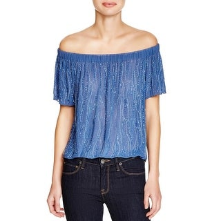 Parker Womens Blouse Sheer Beaded
