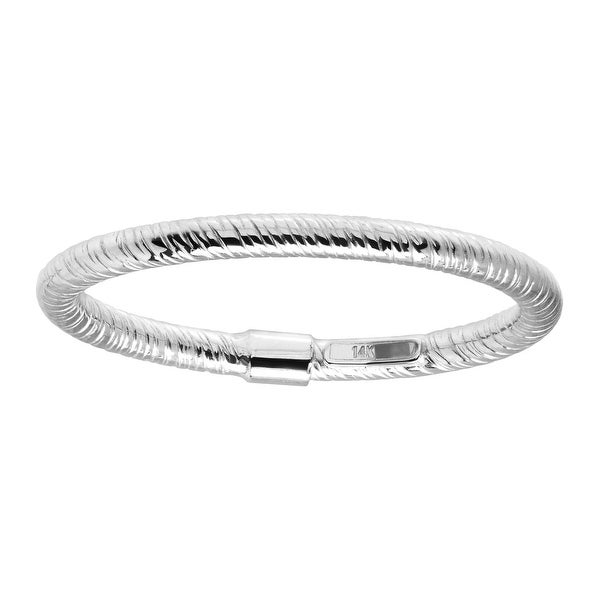 Eternity Gold Textured Band Ring in 14K White Gold