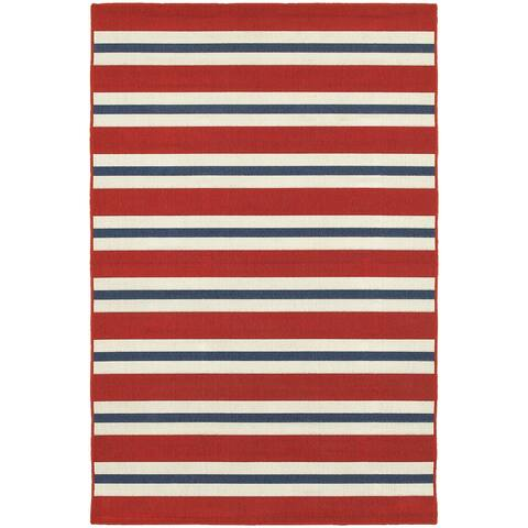 "Menton 7'10"" Outdoor/Casual Geometric Outdoor Stripe Round Area Rug"