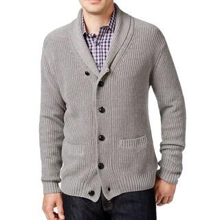 Tricots St Raphael NEW Gray Shawl-Collar Mens Small S Cardigan Sweater