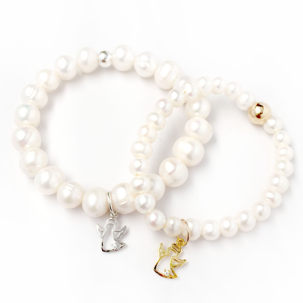 Julieta Jewelry Mom & Daughter Sterling Silver Angel Charm Pearl Bracelet Set