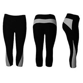 Women's Athletic Fitness Sports Yoga Pants Capri Large/X-Large-Black/Grey