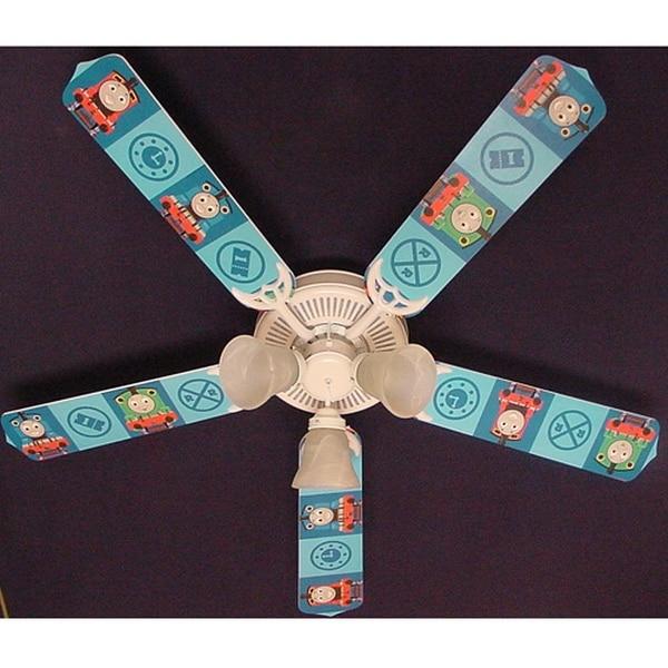 Blue Thomas the Train Print Blades 52in Ceiling Fan Light Kit - Multi