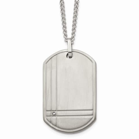 Chisel Titanium Brushed 0.01 cttw Diamond Accent Dog Tag 22-inch Necklace