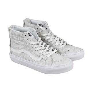 Vans Sk8-Hi Slim Zip Mens White Suede High Top Lace Up Sneakers Shoes