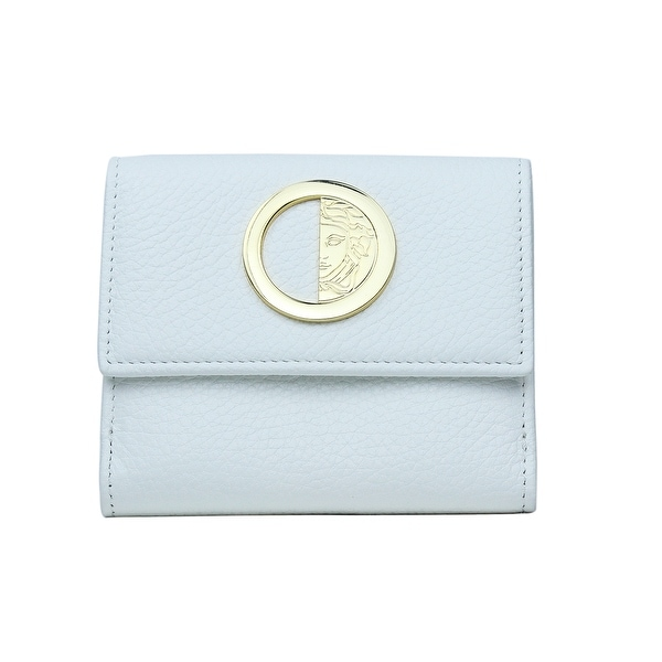 Versace Collection Solid White Grained Leather Bifold Wallet Coin Purse
