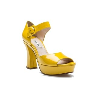 Miu Miu Women's Leather Adjustable Strap High Heel Shoes Yellow - 7 us