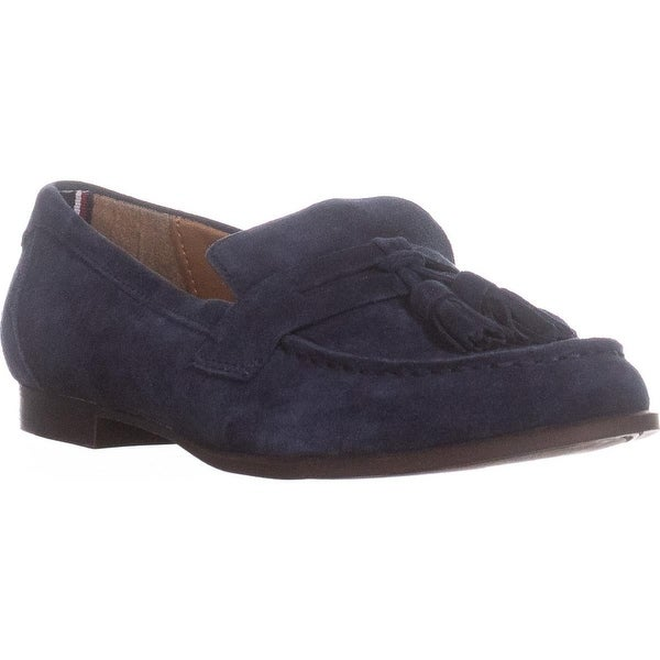 Tommy Hilfiger Sonya Tassel Penny Loafers, Medium Blue SUede - 8 us