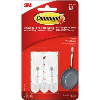 Command Medium Wire Hook 2/Pkg-2 White Hooks & 3 Strips