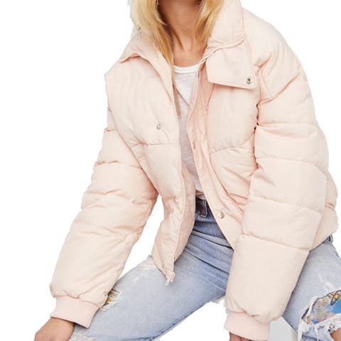 Free People Cold Rush Puffer Jacket, Rose, X-Large