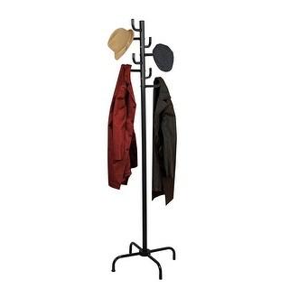 Home Basics 8 Hook Standing Coat Rack, Powder Coated Black, 18.5x65 Inches
