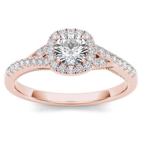 De Couer IGI Certified 14k Rose Gold 5/8ct TDW Diamond Halo Engagement Ring - Pink
