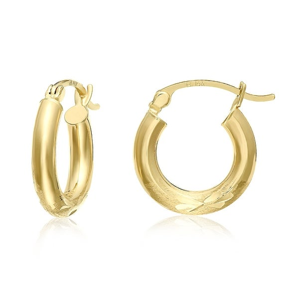 Mcs Jewelry Inc 14 KARAT YELLOW GOLD CLASSIC ROUND HOOP EARRINGS 15MM