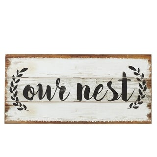 """Set of 2 Black and White """"Our Nest"""" Words Printed Wall Decors 23.62"""""""