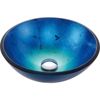 Link to Round Blue Tempered Glass Vessel Bathroom Sink Similar Items in Sinks