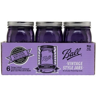 Ball Regular Mouth Canning Jars 6/Pkg-Quart - Heritage Collection Purple