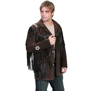 Scully Western Coat Mens Concho Leather Button Fringe Chocolate 758-67
