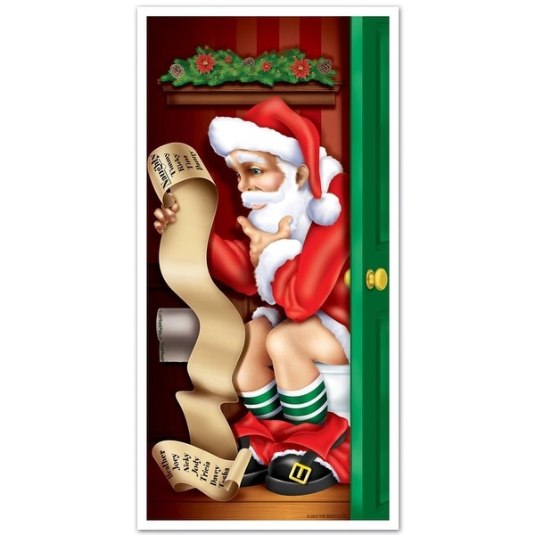 Club Pack of 12 Winter Wonderland Themed Santa Restroom Door Cover Party Decorations 5' - RED