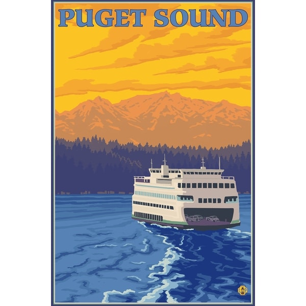 Puget Sound - Ferry & Mountains - LP Artwork (Acrylic Wall Clock) - acrylic wall clock