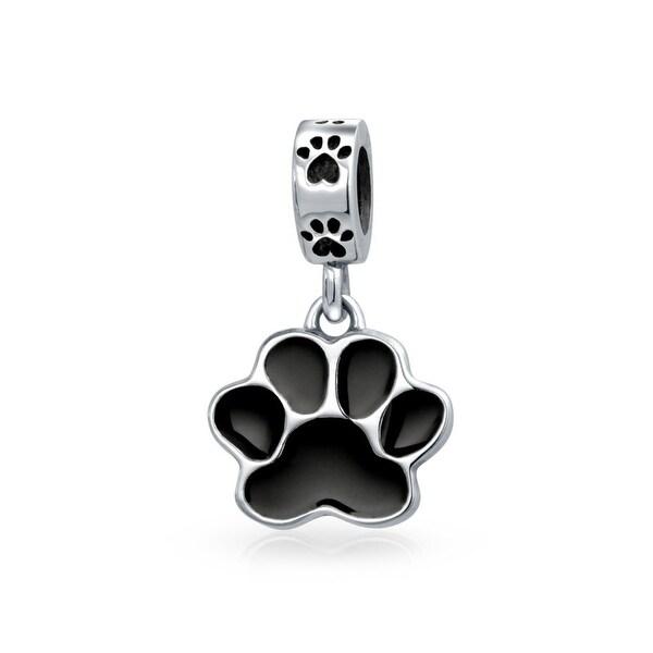 Bling Jewelry Love Dog Puppy Paw Print Enamel Dangle Bead Charm Silver eBtmY