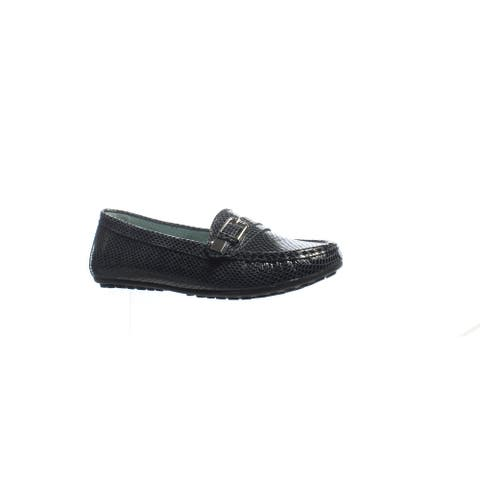 David Tate Womens Tiffany Black Snake Loafers Size 5