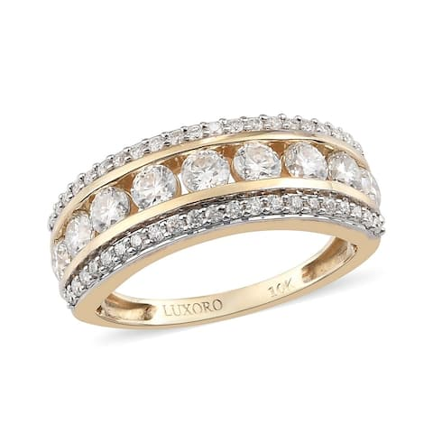 Shop LC Yellow Gold Moissanite Band Engagement Cluster Ring Ct 1.3