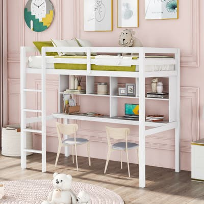 Twin Cute Loft Bed with Shelves and Desk