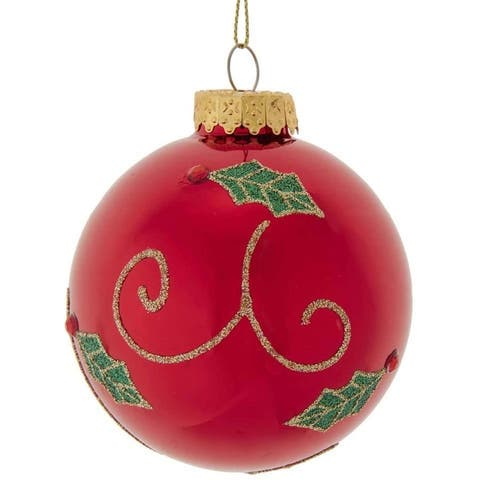 Kurt Adler 80MM Red with Holly Leaf Glass Ball Ornaments, 6-Piece Set