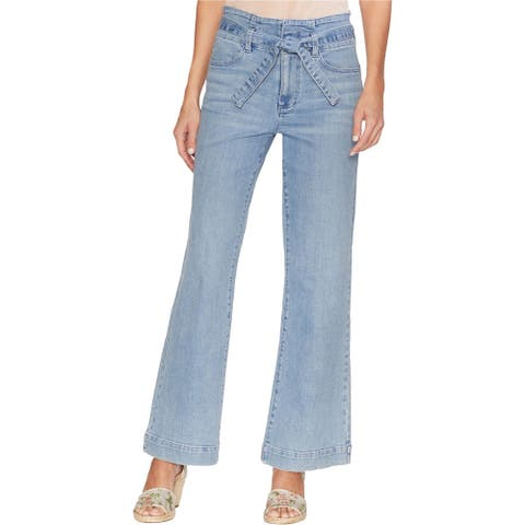 Vince Camuto Womens Tie Belted Wide Leg Jeans