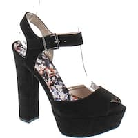 Qupid Women's Beat Platform Sandals - Black