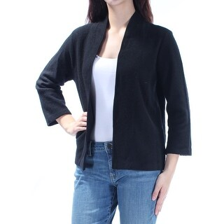 ANNE KLEIN $119 Womens New 1004 Black 3/4 Sleeve Open Cardigan Sweater M B+B