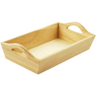 "Paintable Wooden Tray W/Handles-8.125""X4.625""X2.125"""
