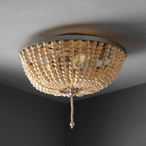 """Allison 15"""" Wood Beaded/Metal LED Flush Mount by JONATHAN Y. Opens flyout."""