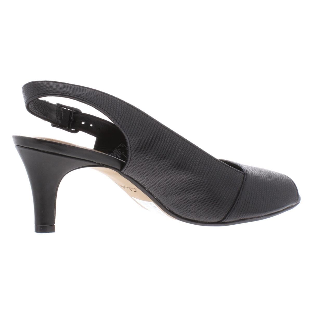 Clarks Womens Heavenly Leah Slingback Heels Faux Leather Peep Toe