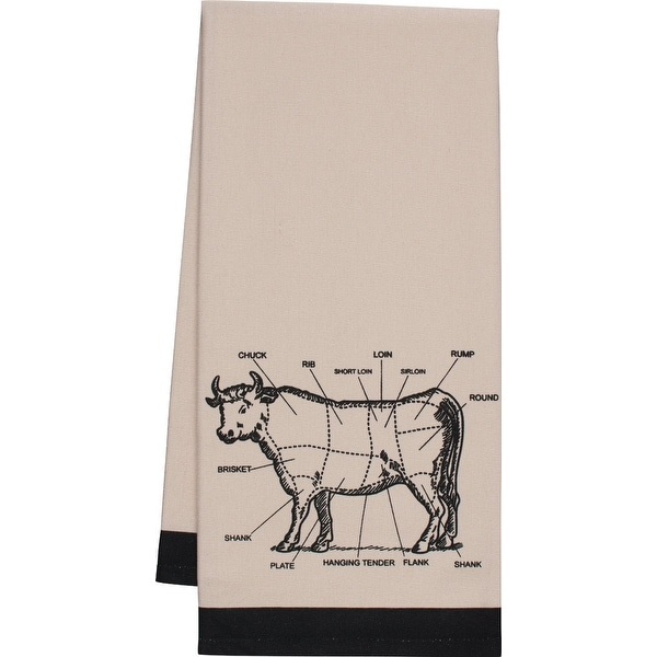 "HIC 02973 Chef's Cut Chart Cow Kitchen Towel, 20"" x 30"""