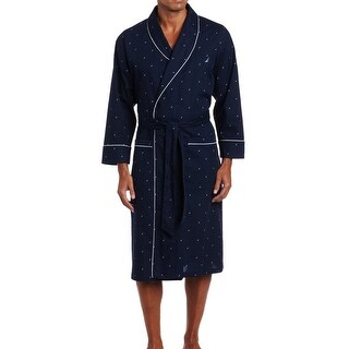 Nautica NEW Navy Blue Mens Size L/XL Printed Logo Robes Sleepwear