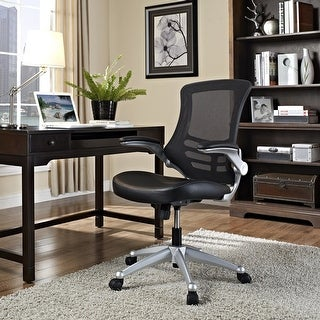Link to Porch & Den Williamsburg Modway Attainment Black Mesh Back and Leatherette Seat Office Chair Similar Items in Office & Conference Room Chairs