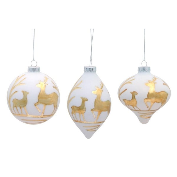 Pack of 6 White with Gold Deer Glass Christmas Ornaments 5""
