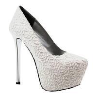 Luichiny Women's My Pleasure Platform Pump White/Silver Lace