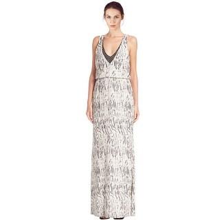 Parker Black Zebra Print Embellished Arwen Blouson Evening Gown Dress - 8
